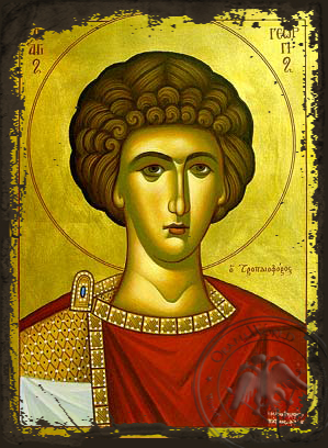 Saint George the Great Martyr, Bust - Aged Byzantine Icon