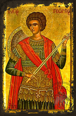 Saint George the Great Martyr, Half - Aged Byzantine Icon