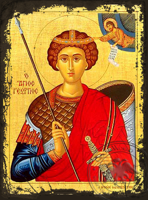 Saint George the Great Martyr, Half - Aged Byzantine Icon