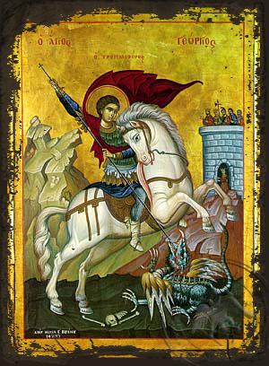 Saint George on Horseback - Aged Byzantine Icon