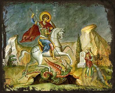 Saint George the Great Martyr, on Horseback - Aged Byzantine Icon