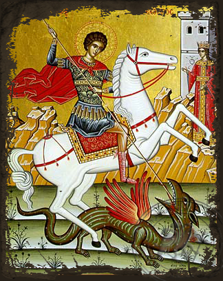 Saint George the Great Martyr, on Horseback - Aged Byzantine Icon