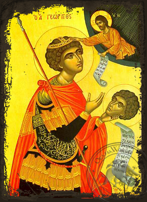 Saint George the Great Martyr, with Head - Aged Byzantine Icon