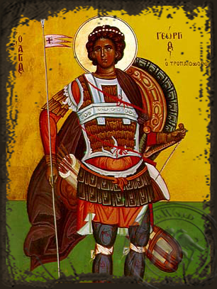 Saint George the Great Martyr - Aged Byzantine Icon
