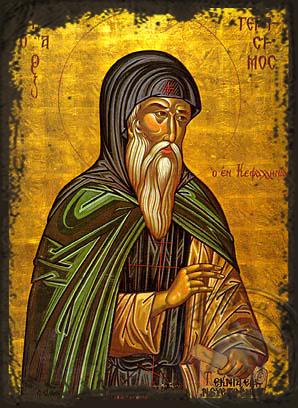 Saint Gerasimus the New Ascetic of Cephalonia, Greece - Aged Byzantine Icon