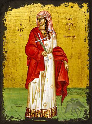 Saint Glyceria, Virgin-Martyr at Heraclea, Full Body - Aged Byzantine Icon