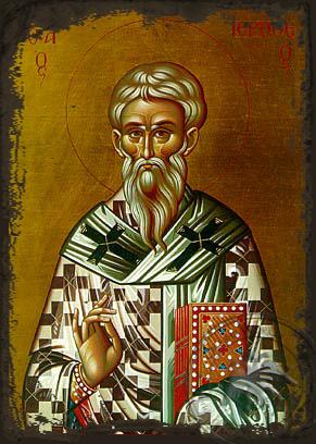Saint Hierotheus, Hieromartyr, Bishop of Athens, Greece - Aged Byzantine Icon