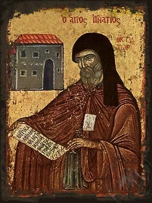Saint Ignatios Agalianos the Wonderworker Archbishop of Mythemna Lesvos Greece - Aged Byzantine Icon