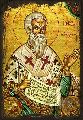 Saint Ignatius Hieromartyr, the God-Bearer, Bishop of Antioch - Aged Byzantine Icon