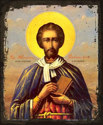 Saint Ioustinos the Philosopher - Aged Byzantine Icon