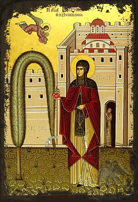 Saint Irene Chrysovalantou - Aged Byzantine Icon