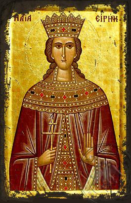 Saint Irene - Aged Byzantine Icon