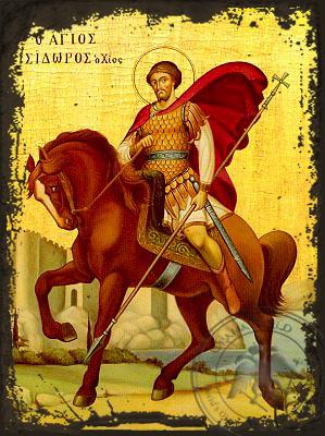Saint Isidoros of Chios - Aged Byzantine Icon