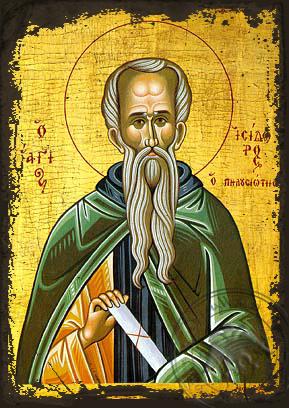 Saint Isidoros of Mount Pelousion - Aged Byzantine Icon