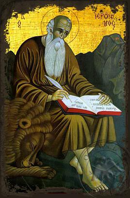Saint Hieronymus - Aged Byzantine Icon