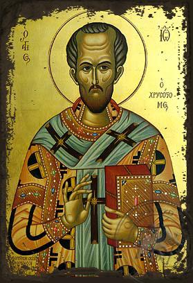 Saint John the Chrysostom Patriarch of Constantinople - Aged Byzantine Icon