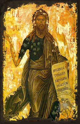 Saint John the Forerunner - Aged Byzantine Icon