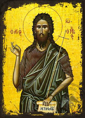 Saint John the Forerunner - Aged Byzantine Icon