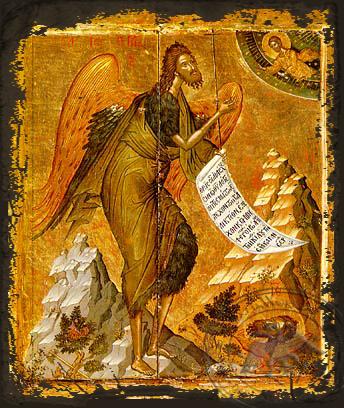 Saint John the Forerunner, Bird of Desert - Aged Byzantine Icon