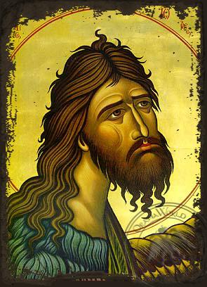 Saint John the Forerunner, Bust - Aged Byzantine Icon