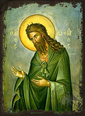 Saint John the Forerunner, Supplicating - Aged Byzantine Icon