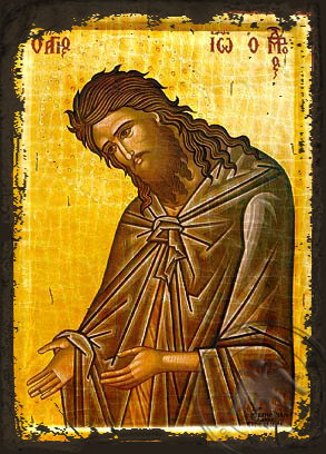 Saint John the Forerunner, Supplicating - Aged Byzantine Icon