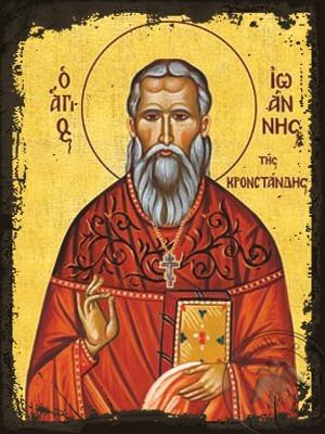Saint John of Kronstadt - Aged Byzantine Icon