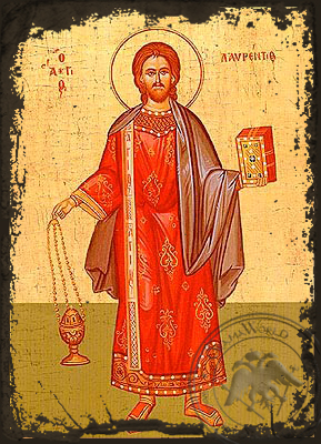 Saint Lawrence the Deacon - Aged Byzantine Icon