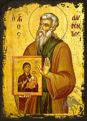 Saint Lawrence of Salamina - Aged Byzantine Icon