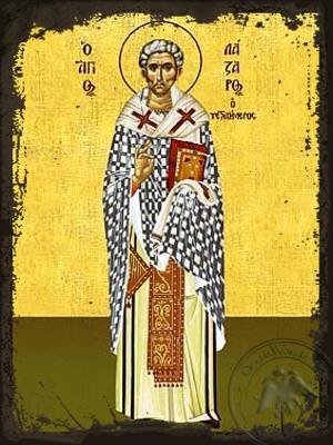 Saint Lazarus the Four Days Dead Bishop of Kition Cyprus - Aged Byzantine Icon