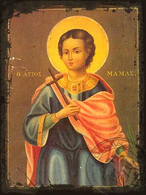 Saint Mamas Martyr of Caesarea in Cappadocia - Aged Byzantine Icon
