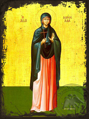 Saint Marcella, Martyr, of Chios, Greece, Full Body - Aged Byzantine Icon