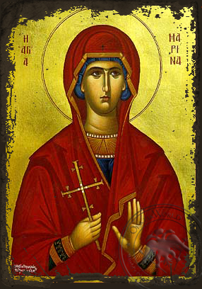 Saint Marina, the Great Martyr, of Antioch - Aged Byzantine Icon