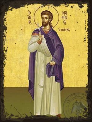 Saint Marinus of Caesarea Martyr - Aged Byzantine Icon