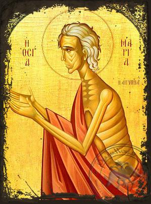 Saint Mary of Egypt - Aged Byzantine Icon