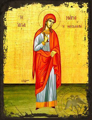 Saint Mary Magdalen, the Myrrh-Bearer, Full Body - Aged Byzantine Icon