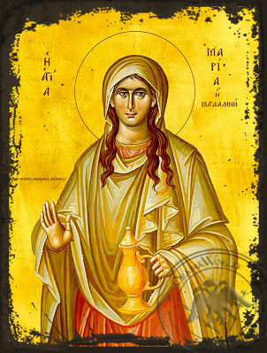 Saint Mary Magdalen, the Myrrh-Bearer - Aged Byzantine Icon