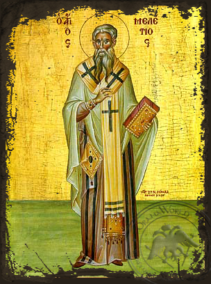 Saint Meletius, Archbishop of Antioch, Full Body - Aged Byzantine Icon