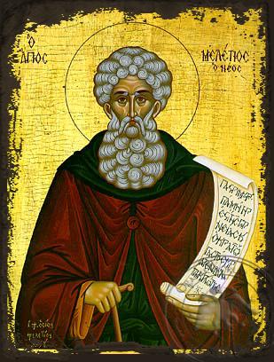 Saint Meletios of Antioch - Aged Byzantine Icon