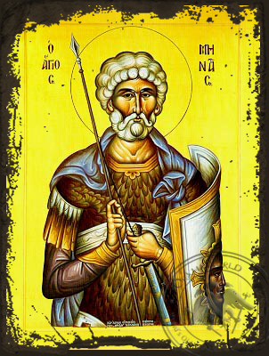 Saint Menas, the Great Martyr, of Egypt - Aged Byzantine Icon