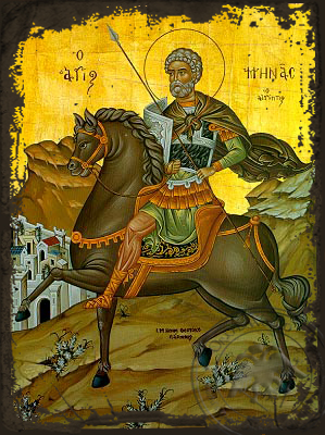 Saint Menas, the Great Martyr, of Egypt, on Horseback - Aged Byzantine Icon