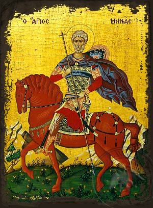 Saint Menas, the Great Martyr, of Egypt, on Horseback - Aged Byzantine Icon