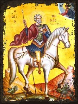 Saint Menas the Great Martyr of Egypt on Horseback - Aged Byzantine Icon