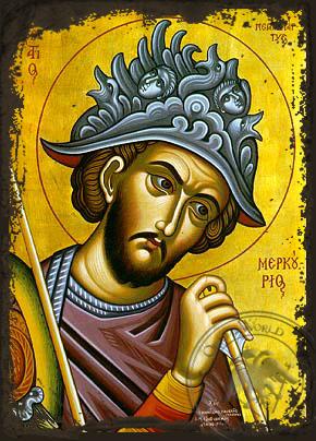 Saint Mercurios - Aged Byzantine Icon
