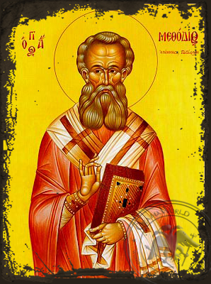 Saint Methodius, Hieromartyr, Bishop of Patara - Aged Byzantine Icon