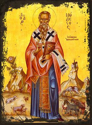 Saint Modestus, Archbishop of Jerusalem, Full Body - Aged Byzantine Icon