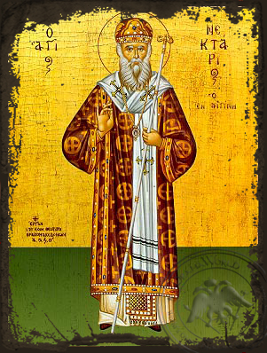 Saint Nectarius, Metropolitan of Pentapolis, Full Body - Aged Byzantine Icon