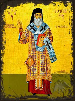 Saint Nectarius, Metropolitan of Pentapolis, Full Body - Aged Byzantine Icon