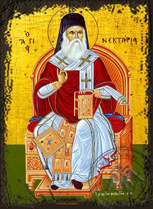 Saint Nectarius, Metropolitan of Pentapolis, Enthroned - Aged Byzantine Icon