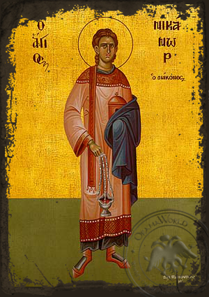 Saint Nicanor the Apostle and Deacon, Full Body - Aged Byzantine Icon